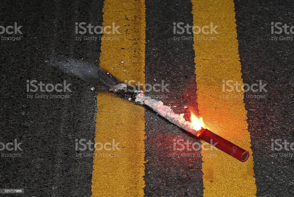 Warning: accident ahead royalty-free stock photo