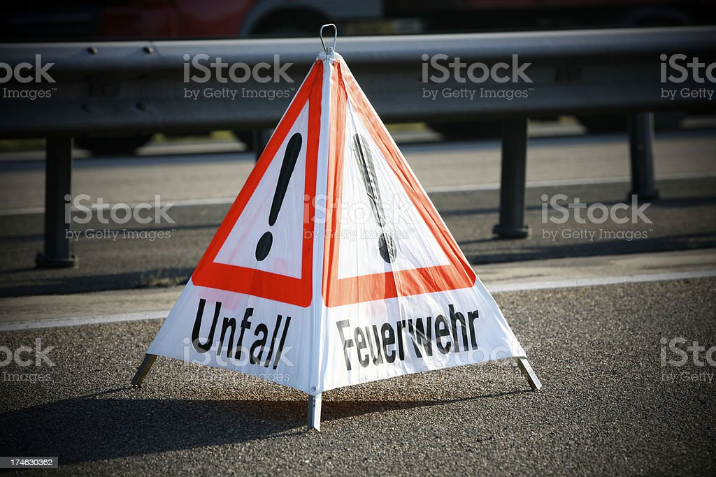 Warning Accident Firemen traffic sign royalty-free stock photo