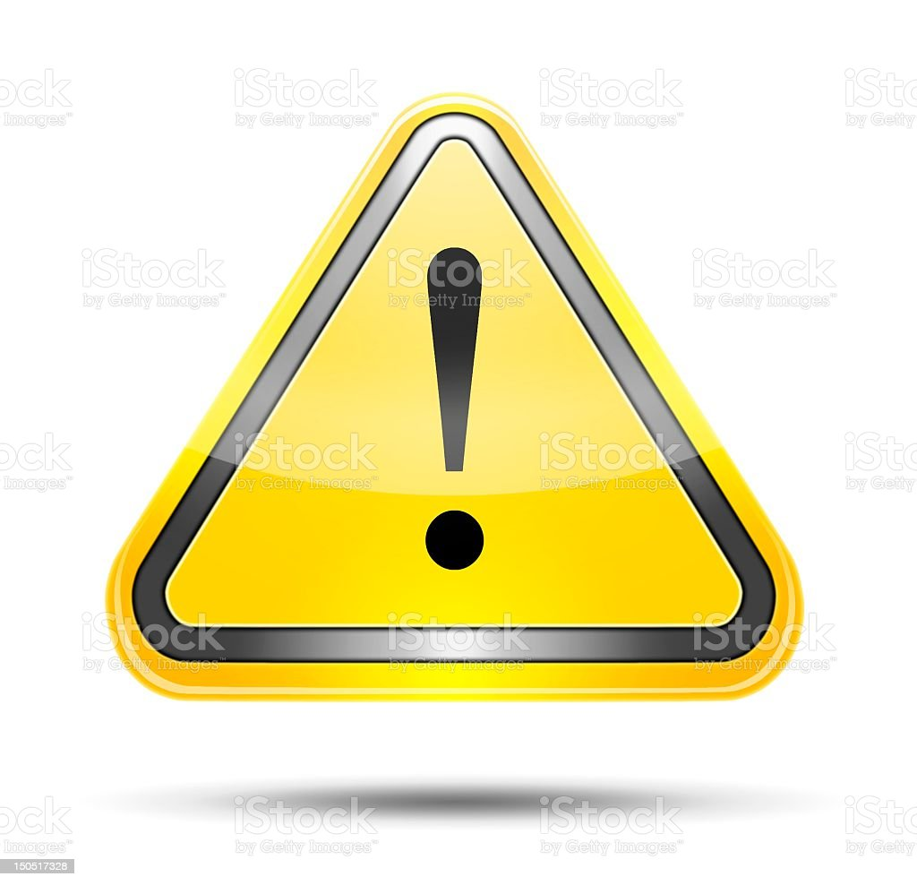 Warning, attention, danger or caution icon stock photo