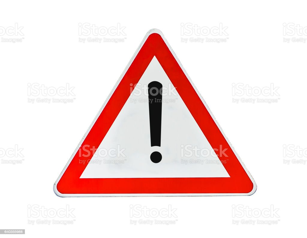 Warning attention problem glossy road sign stock photo