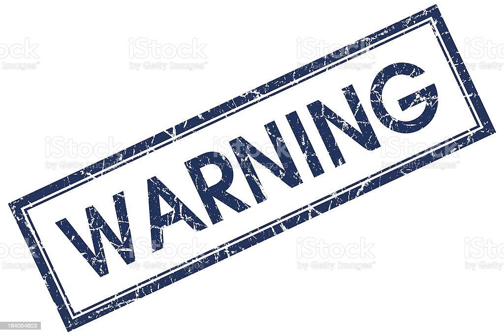 warning blue square stamp stock photo