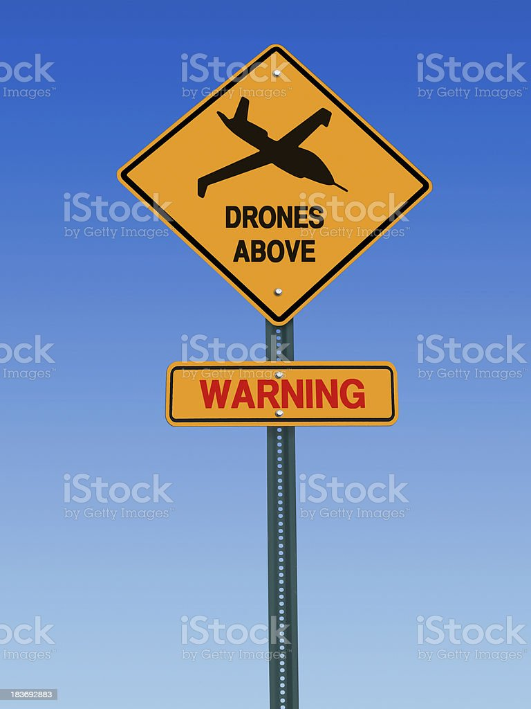 warning drones above sign stock photo