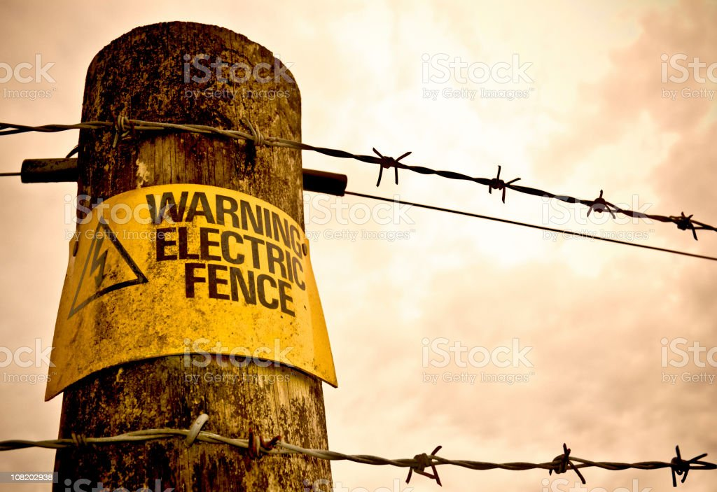 Warning - Electric Fence! stock photo