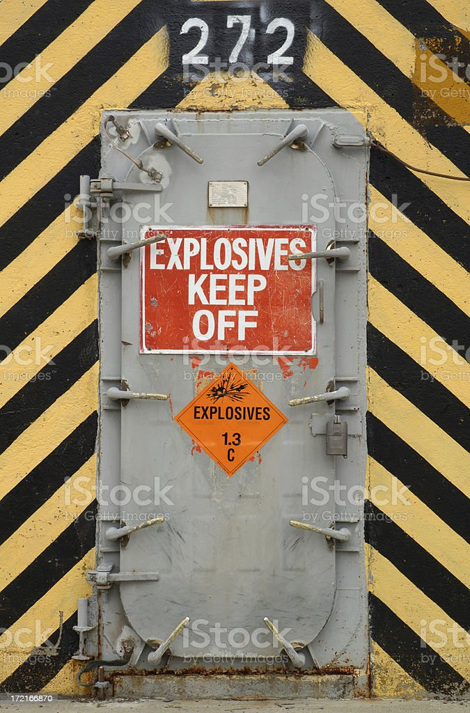 Warning, Explosives. stock photo