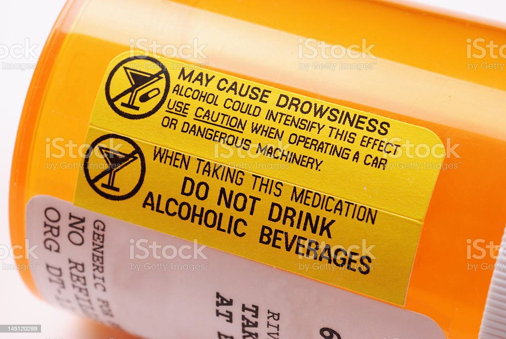 Warning Label - Alcohol stock photo