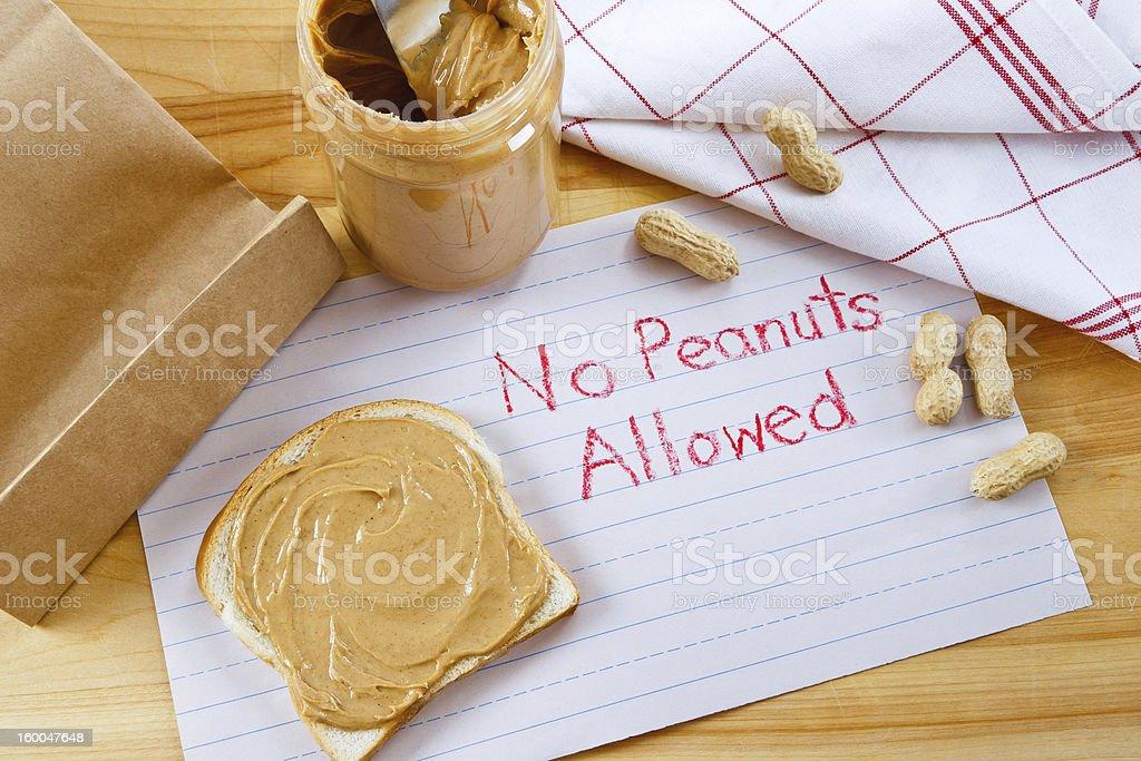 Warning - No Peanuts Allowed stock photo