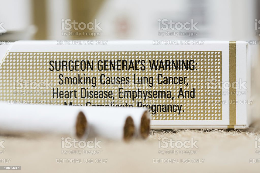 Warning on Pack of Marlboro Cigarettes royalty-free stock photo
