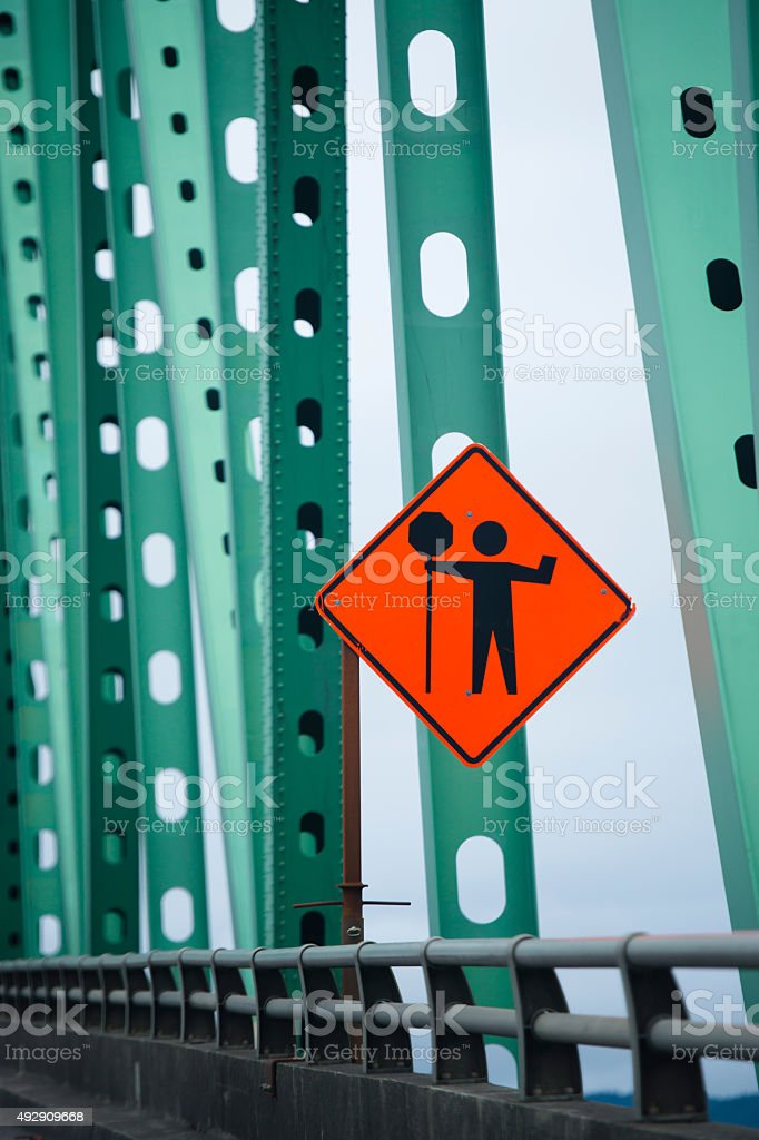 Warning road sign of road works on bridge green farms stock photo