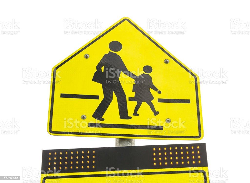 warning school zone sign  isolated on white background stock photo