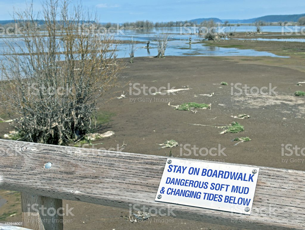 Warning sign about soft mud on boardwalk in restored estuary royalty-free stock photo