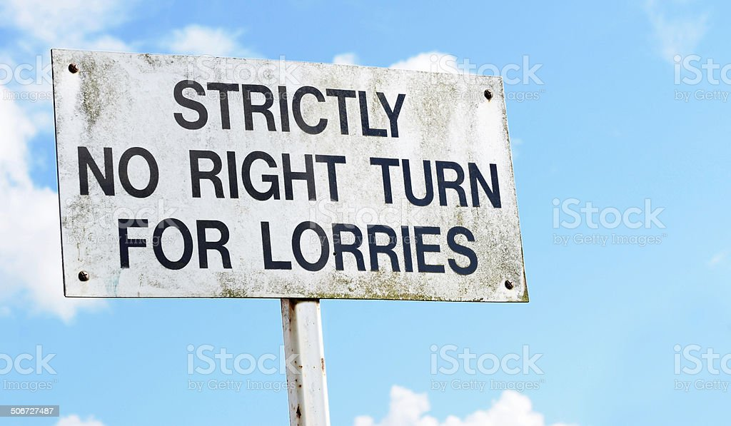 Warning sign advises no right turn for lorries stock photo