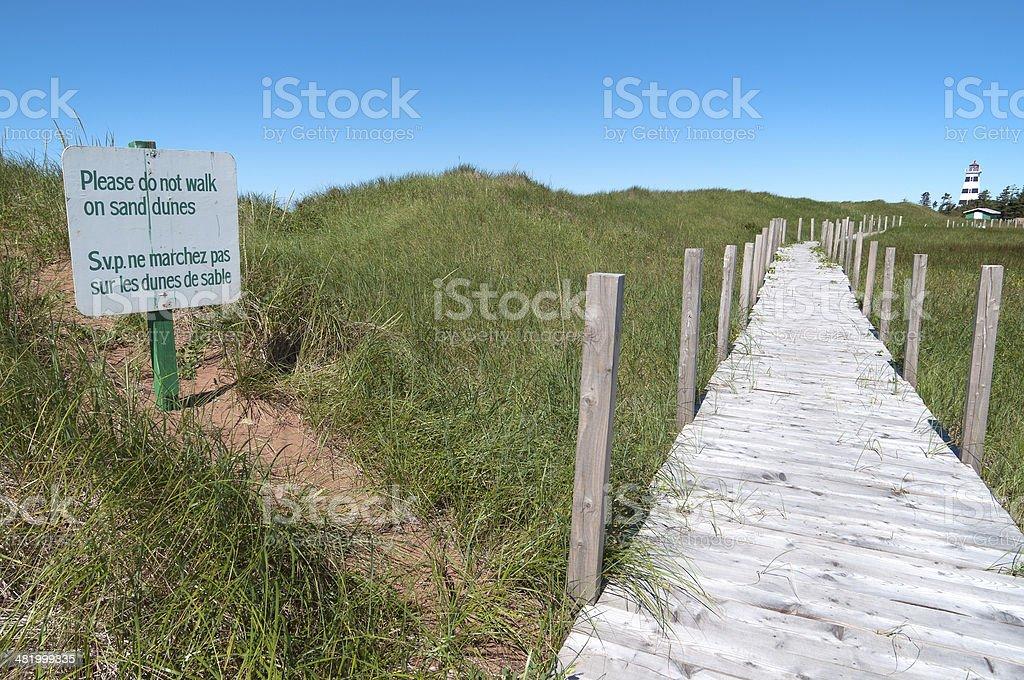 Warning Sign at Beach on PEI royalty-free stock photo