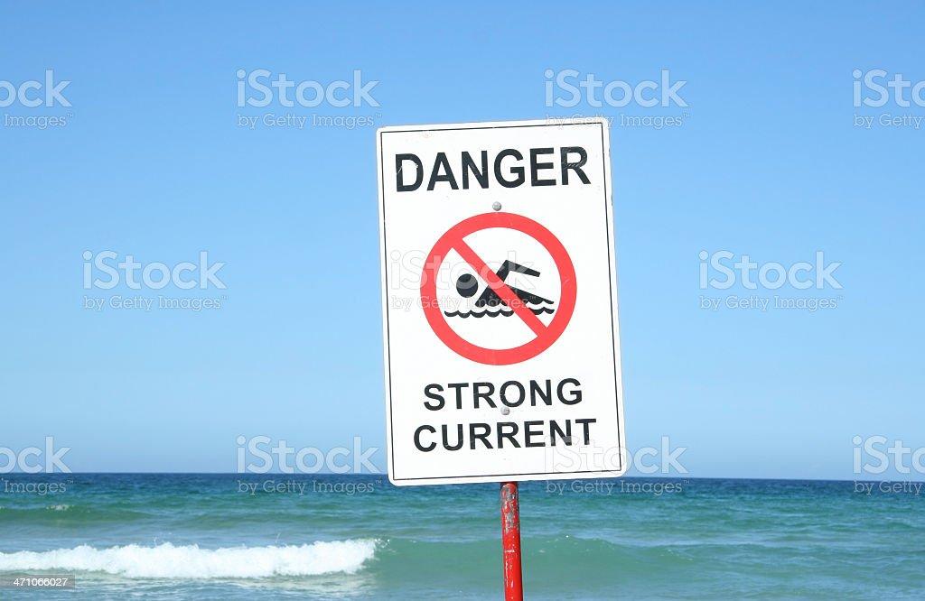 Warning Sign at the Beach royalty-free stock photo