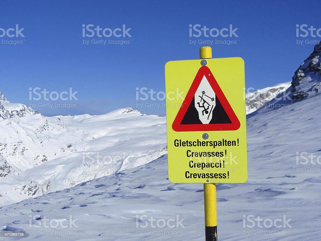 Warning sign 'Beware of Crevasses' on mountain ski slope royalty-free stock photo