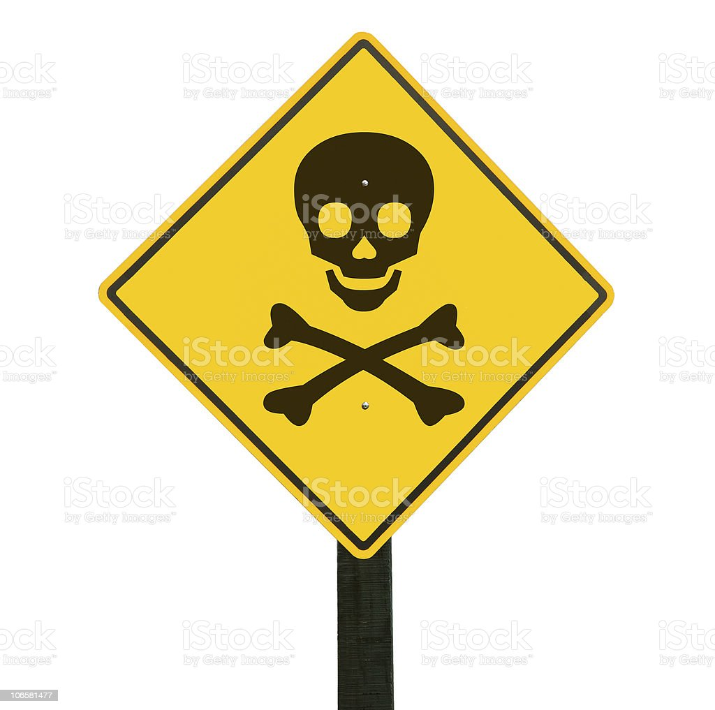 Warning sign, clipping path. stock photo