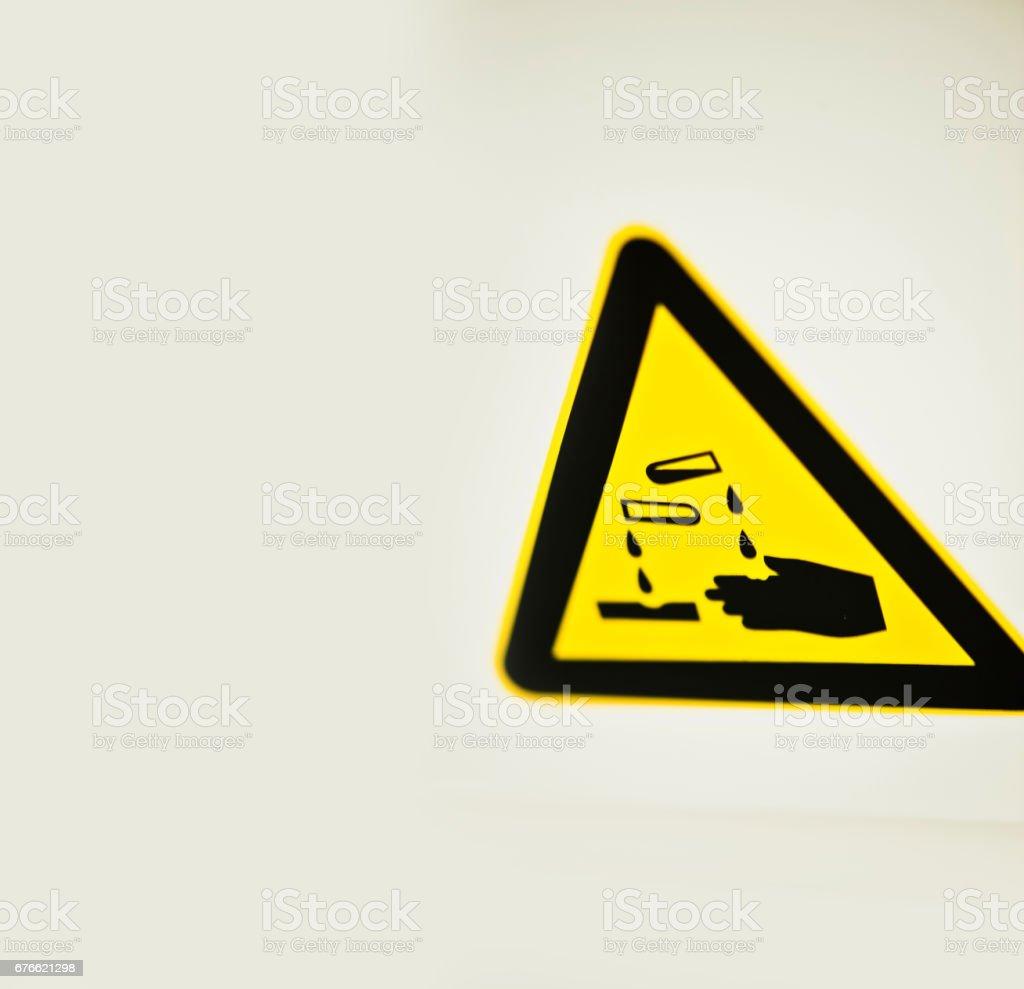 Warning Sign - Corrosive Chemical stock photo