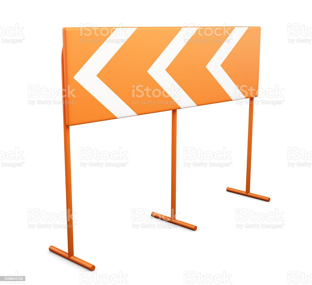 Warning sign dangerous turn on a white background. 3d rendering stock photo