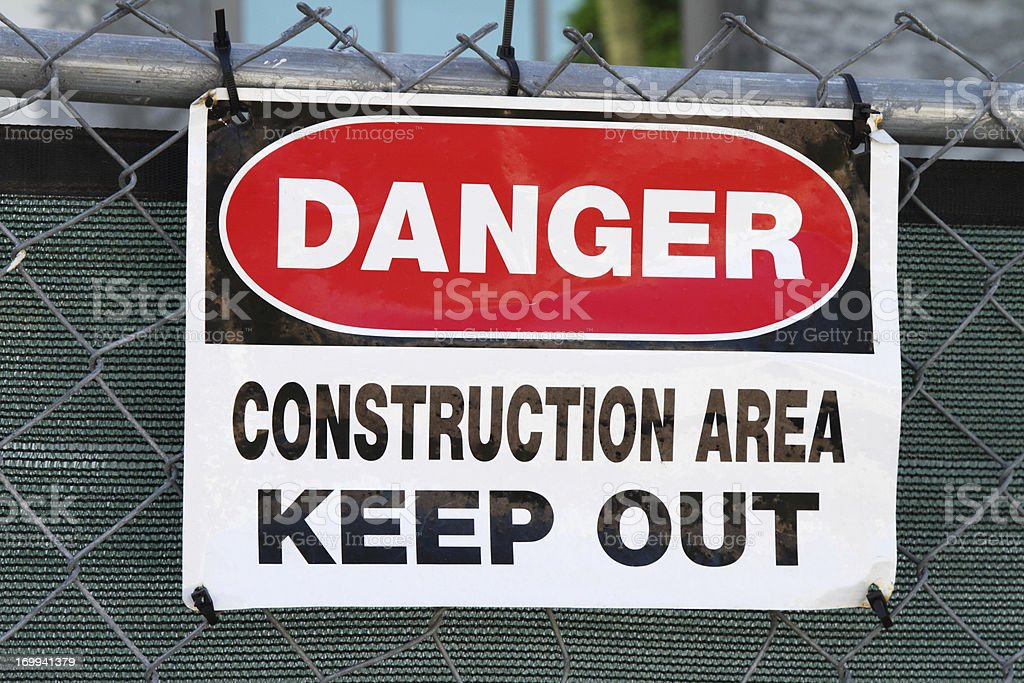 Warning sign for construction area royalty-free stock photo