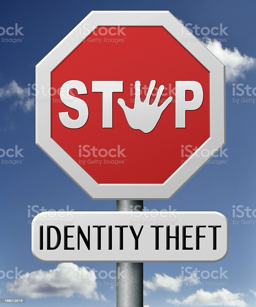 A warning sign for identity theft stock photo