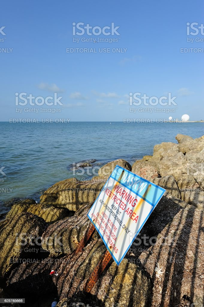 Warning sign for Naval Air Station Key West stock photo