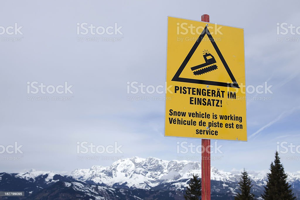 warning sign for passing snowplows royalty-free stock photo