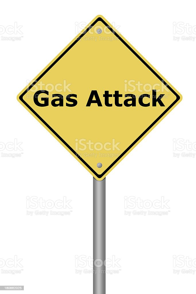 Warning Sign Gas Attack royalty-free stock photo