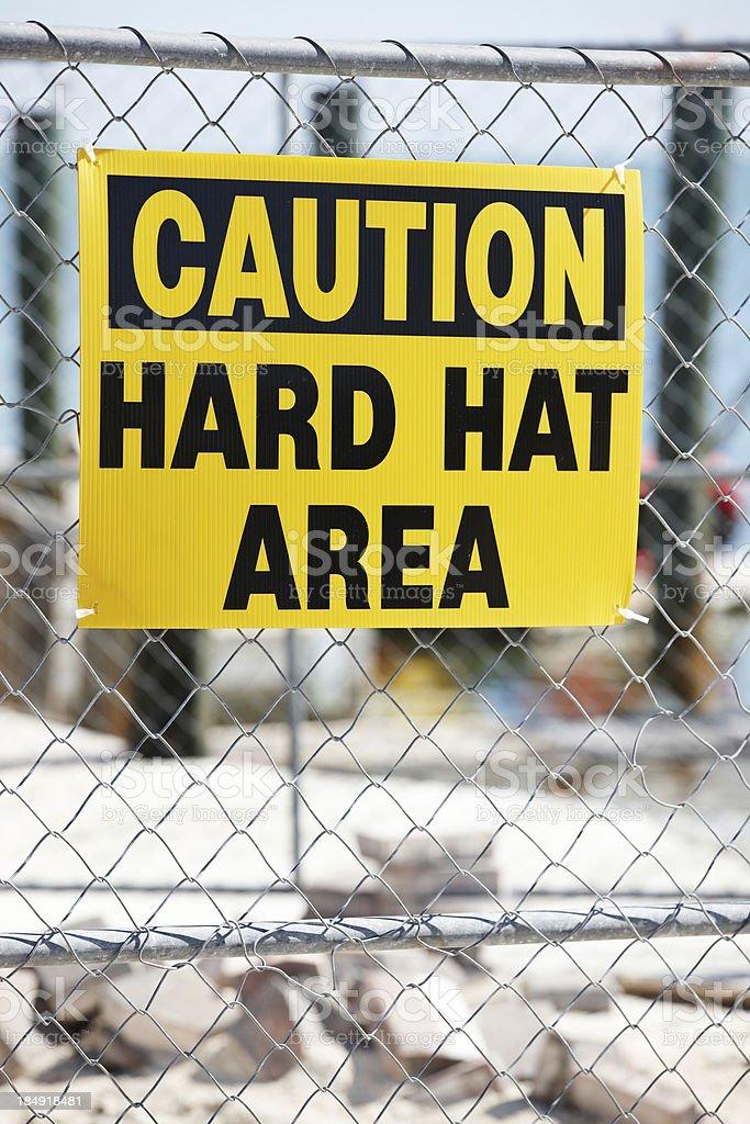 Warning sign hard hat area stock photo