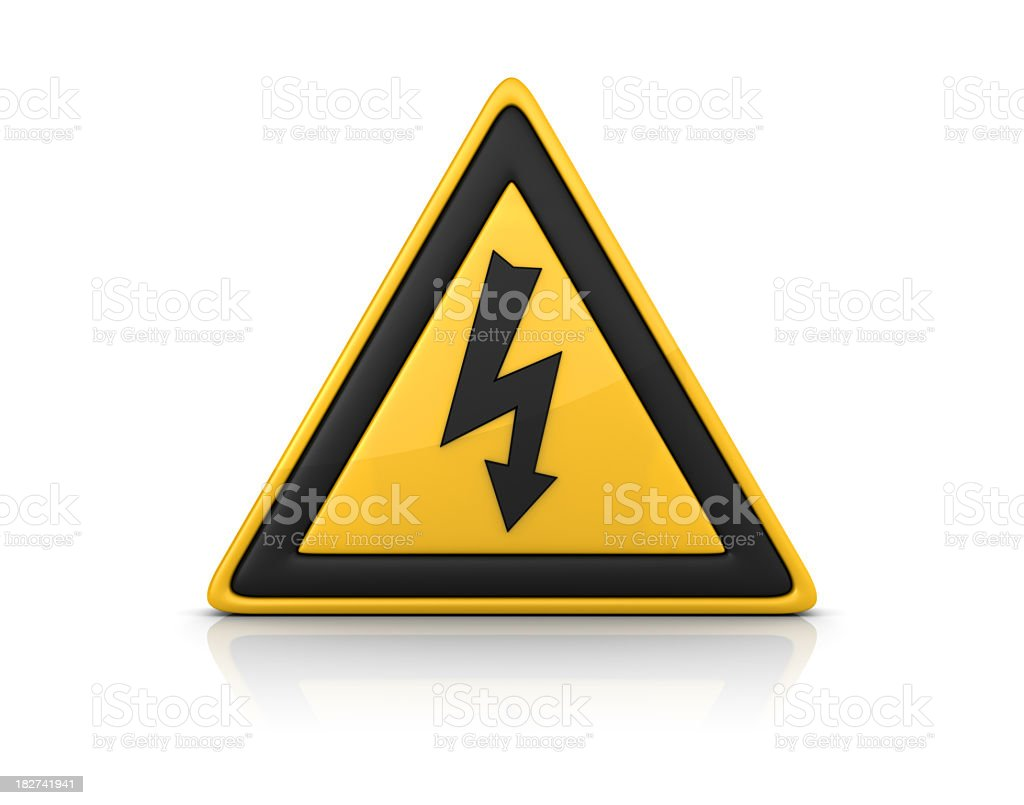 3D Warning Sign: HIGH VOLTAGE royalty-free stock photo