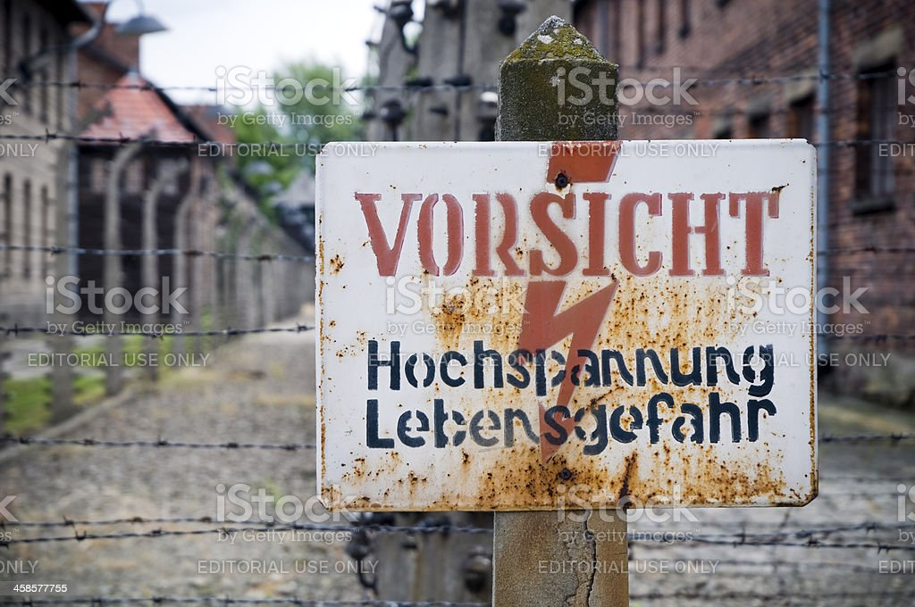 Warning Sign in Auschwitz-Birkenau Concentration Camp royalty-free stock photo