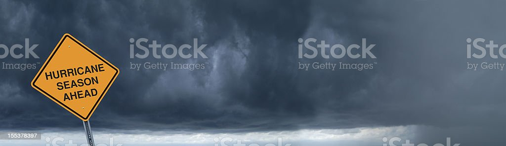Warning Sign in Front of Storm Clouds stock photo