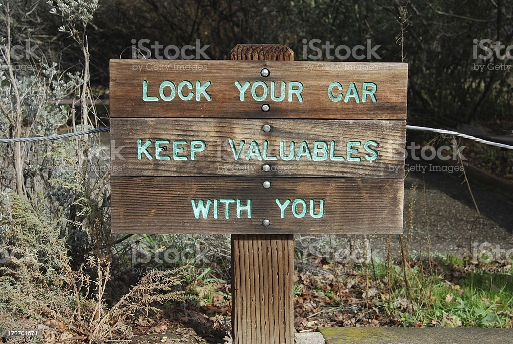 Warning Sign in Parking Lot, Protect stock photo