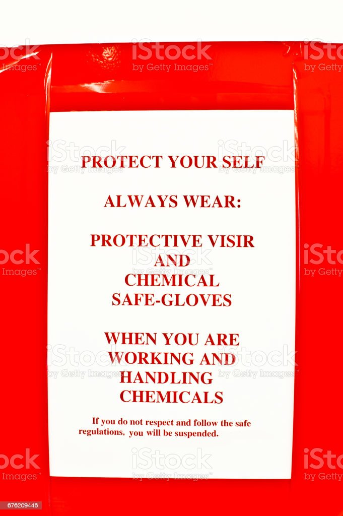Warning Sign - Lab Instructions On Wall stock photo