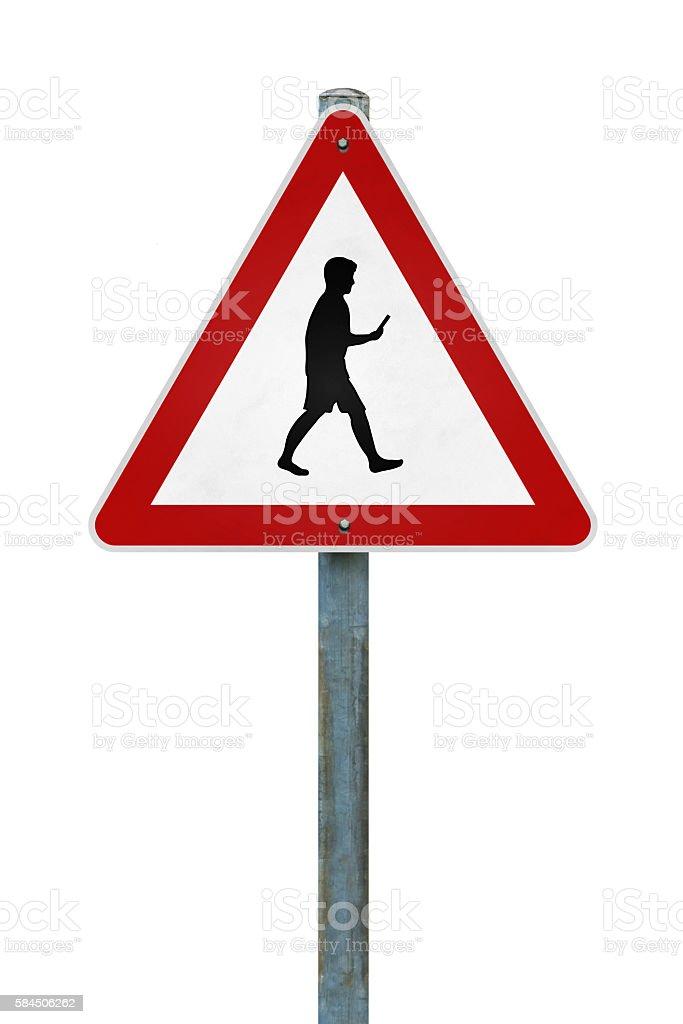 warning sign mobile phone user stock photo