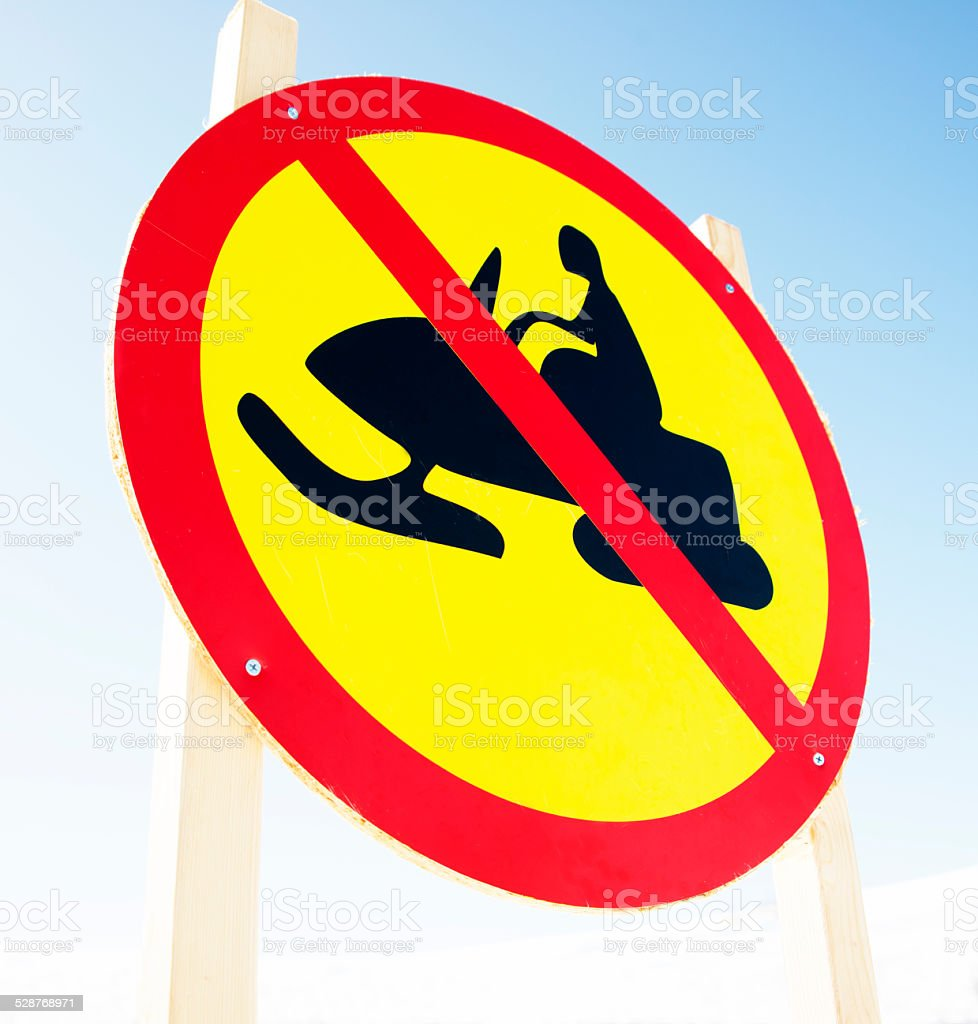 warning sign no snow mobile or skidoo stock photo