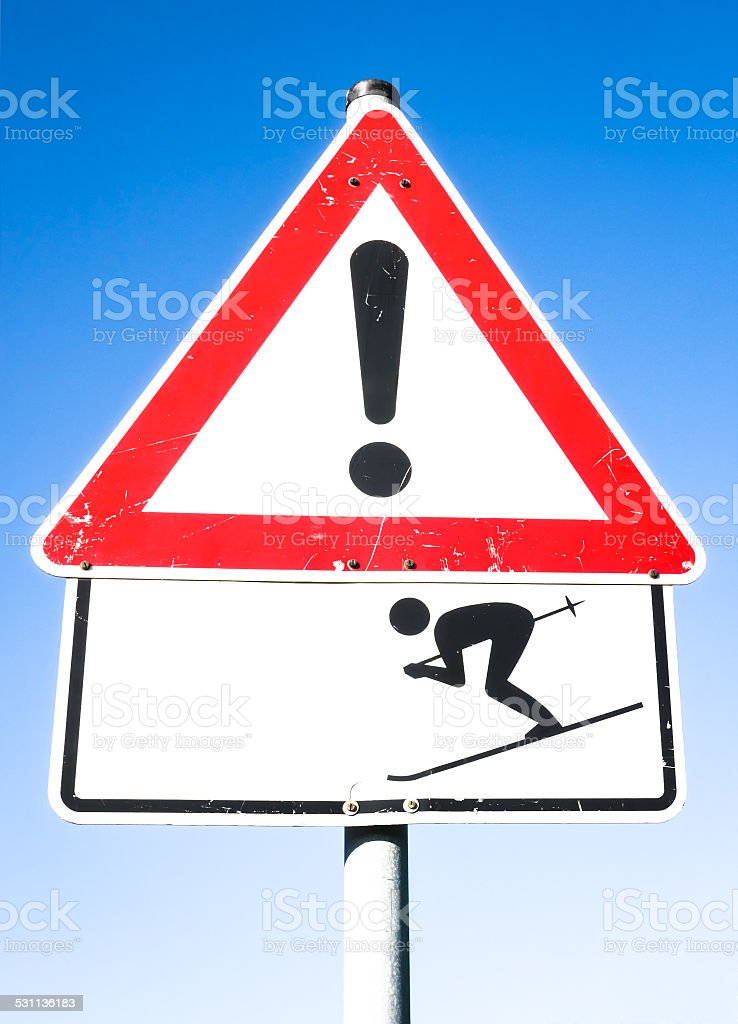warning sign of skier stock photo