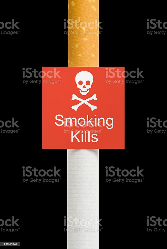 Warning sign on cigarette, isolated stock photo