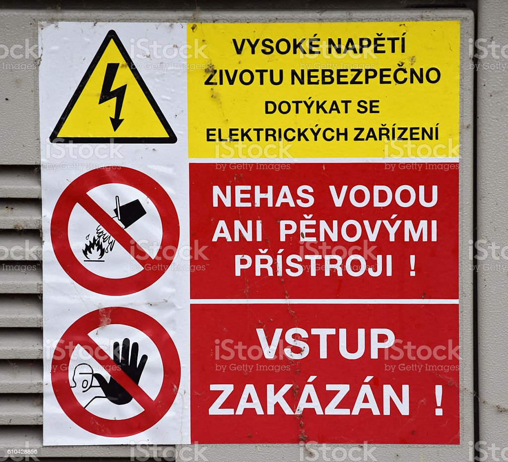 Warning Sign on Electric Junction in Poland stock photo