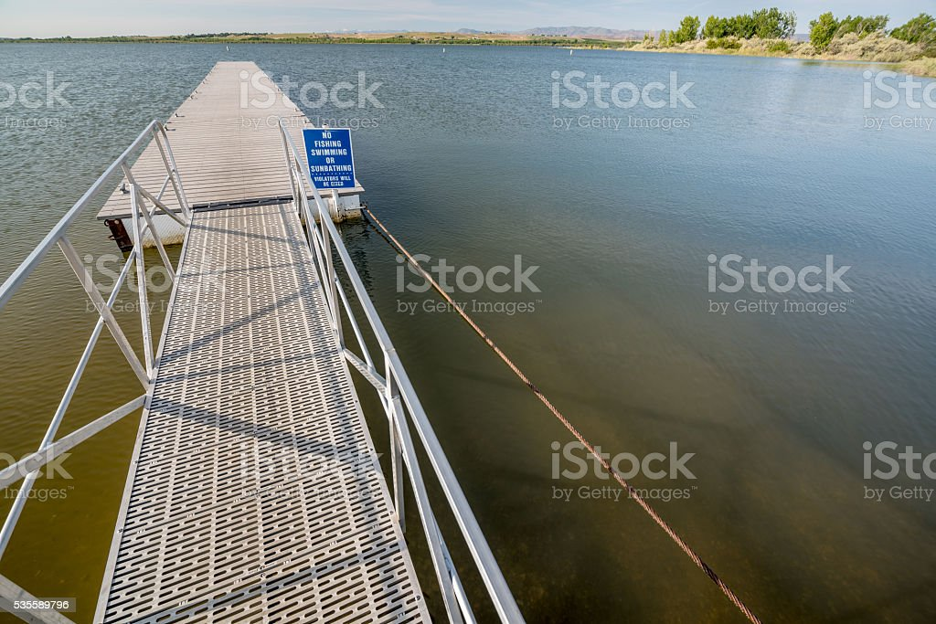 Warning sign on Lake in Idaho with Doc stock photo