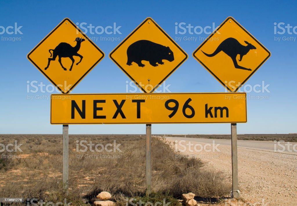 Warning sign on Number 1 road of Australia stock photo