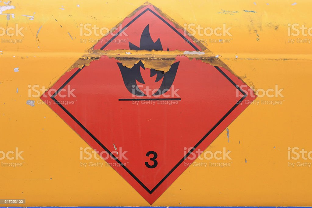 Warning sign on vehicle with tank for flammable liquid stock photo