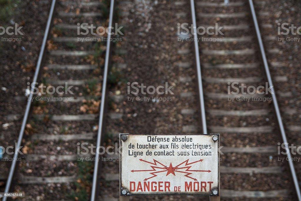 Warning sign railroad in Paris stock photo