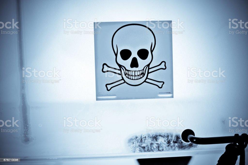 Warning Sign - Skull And Bones stock photo
