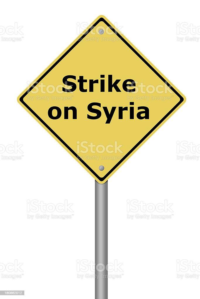 Warning Sign Strike on Syria royalty-free stock photo