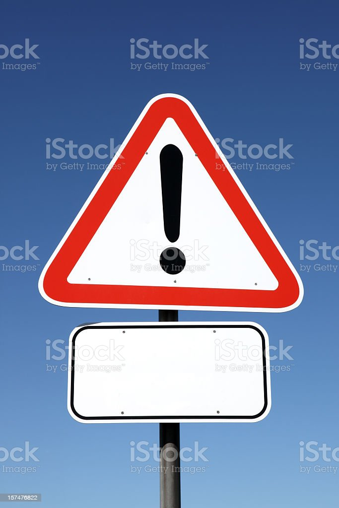 warning sign with copy space stock photo