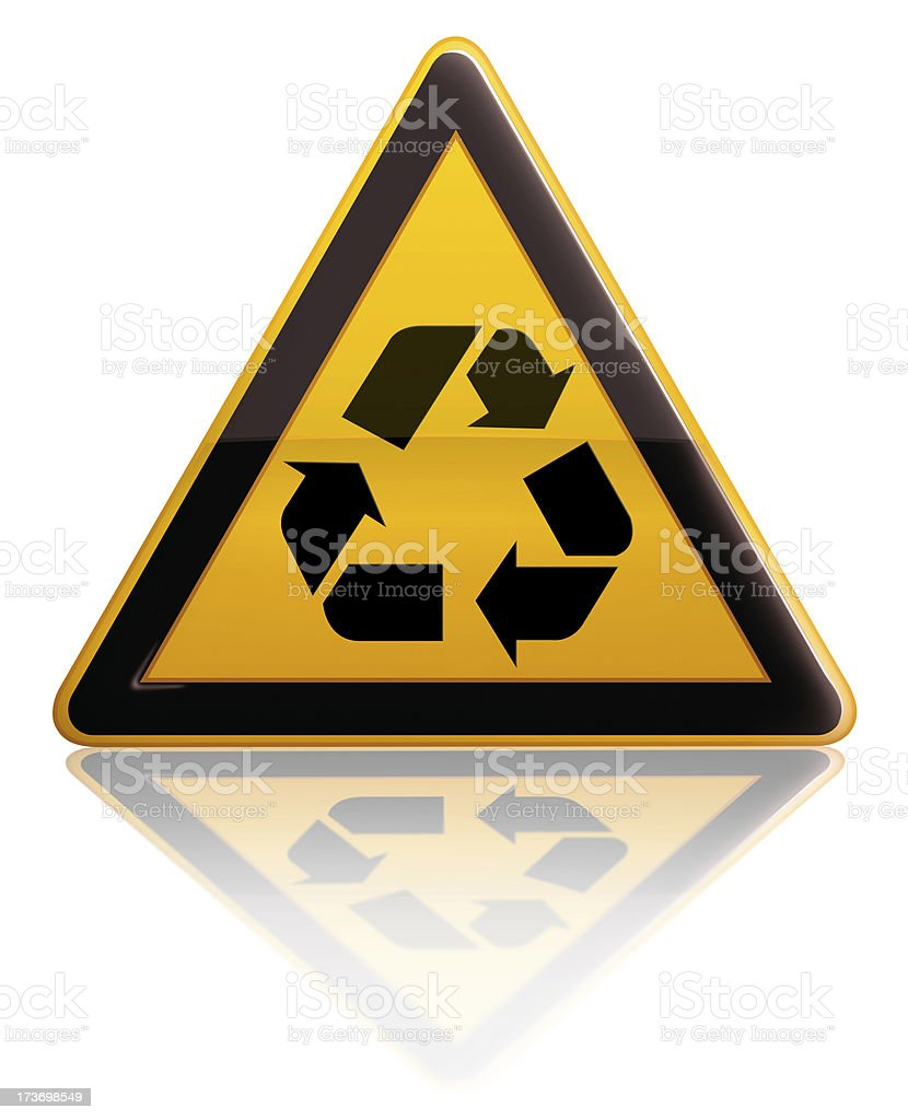 Warning sign with recycle icon stock photo