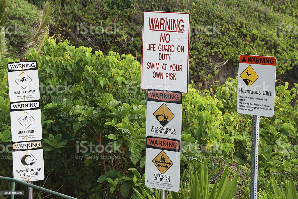 Warning signals in Waianapanapa State park stock photo