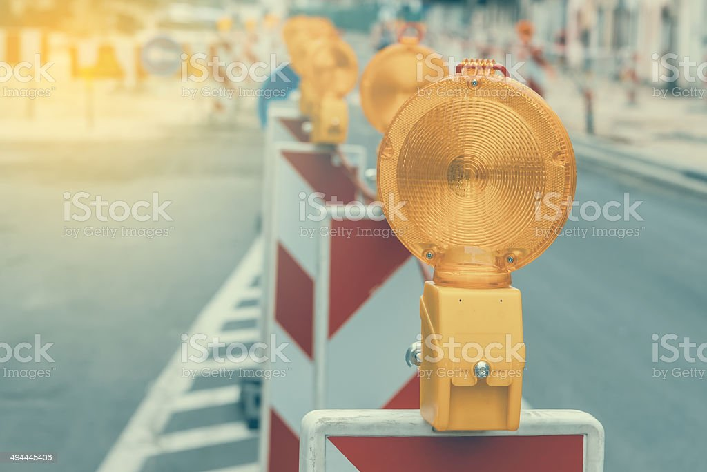 Warning signs for work in progress stock photo