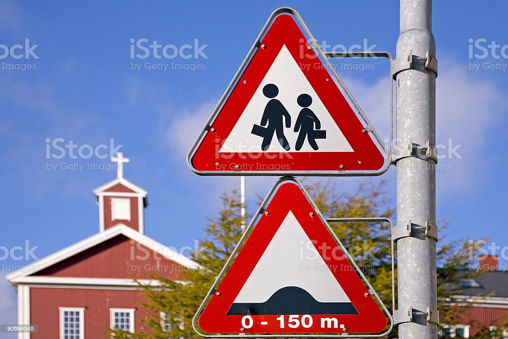 Warning signs on a column royalty-free stock photo