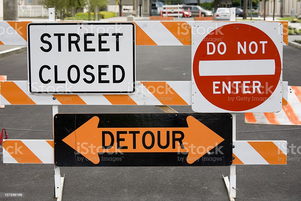 Warning signs street closed detour do not enter royalty-free stock photo