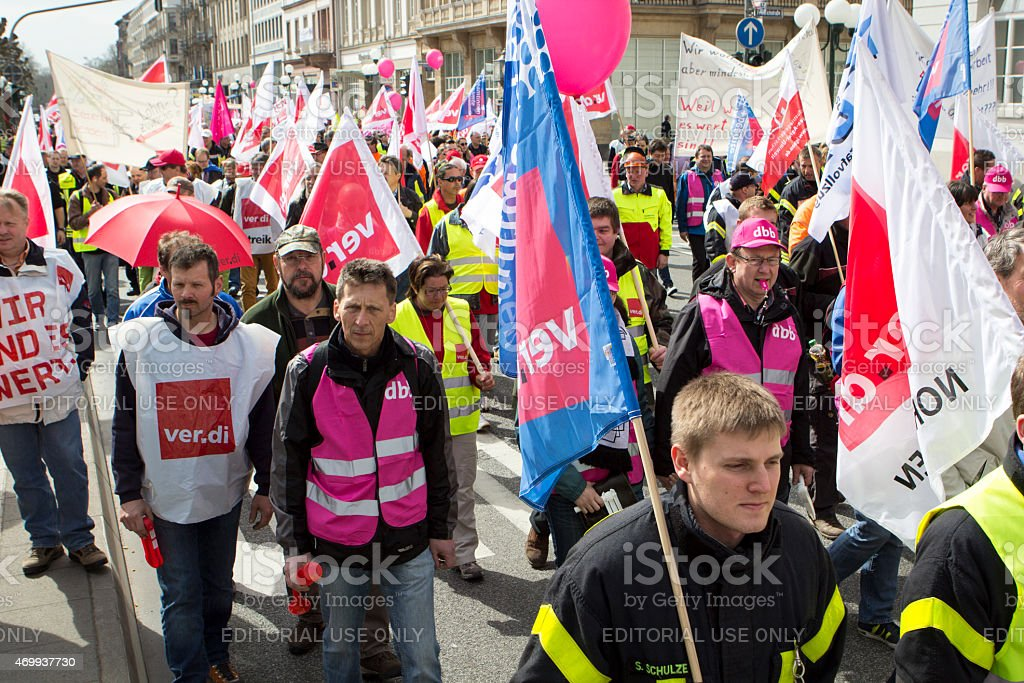 Warning strike and demonstration for higher wages in public serv stock photo
